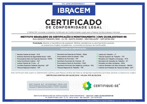 Certificado de Conformidade Legal do IBRACEM